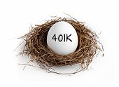 A white egg in a nest on a white background with the word 401K on the egg. poster