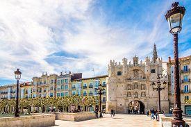 Burgos,spain - May 12,2019 - City Gate Arco De Santa Maria In The Streets Of Burgos. Burgos Is A Cit