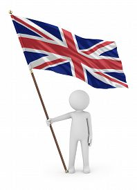 British Patriot Stickman Holding National Flag Of The United Kingdom Of Great Britain And Northern I
