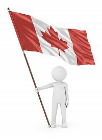 Canadian Patriot Stickman Holding National Flag Of The Canada 3d Illustration On White Background