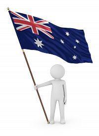 Australian Patriot Stickman Holding National Flag Of The Australia 3d Illustration On White Backgrou