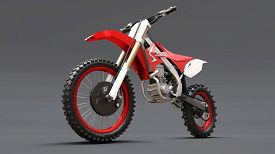 Red And White Sport Bike For Cross-country On A Gray Background. Racing Sportbike. Modern Supercross