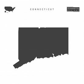 Connecticut Us State Blank Vector Map Isolated On White Background. High-detailed Black Silhouette M