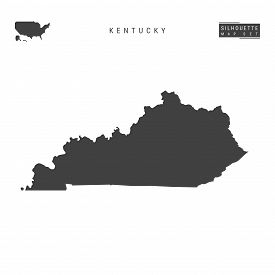 Kentucky Us State Blank Vector Map Isolated On White Background. High-detailed Black Silhouette Map