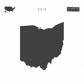 Ohio Us State Blank Vector Map Isolated On White Background. High-detailed Black Silhouette Map Of O