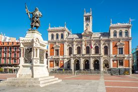 Valladolid,spain - May 13,2019 - View At The Building Of City Hall In Valladolid. Valladolid Is Made
