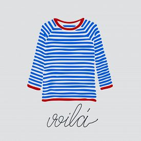 Blue And Red Striped Longsleeve T-shirt And Handlettered Word Voila, French For Here It Is.