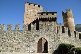 Detail Of The Castle Of Fenis In Aosta Valley - Italy