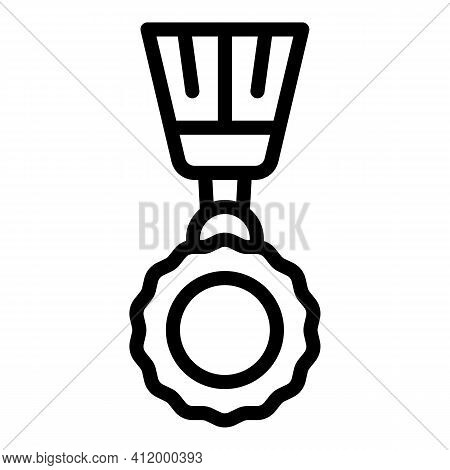 First Place Medal Icon. Outline First Place Medal Vector Icon For Web Design Isolated On White Backg
