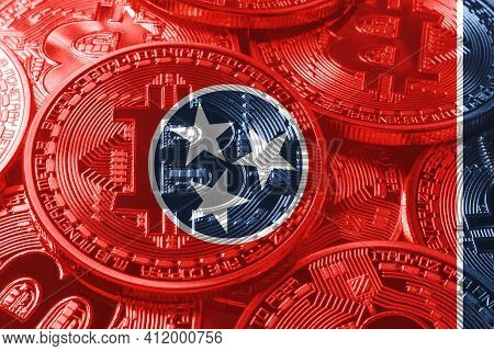 Tennessee Bitcoin Flag, Tennessee Cryptocurrency Concept Background