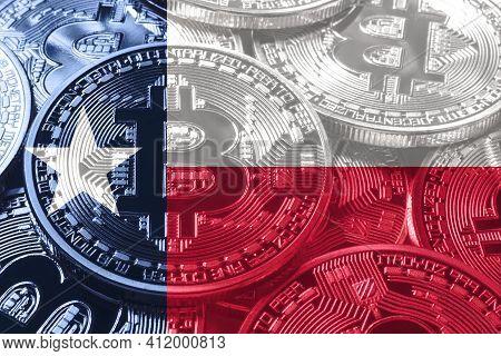 Texas Bitcoin Flag, Texas Cryptocurrency Concept Background