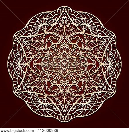 Circular Openwork Mandala. Suitable For Laser Cutting Or Foiling