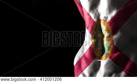 Florida Flag On Abs Muscles, Florida Bodybuilding Concept, Black Background