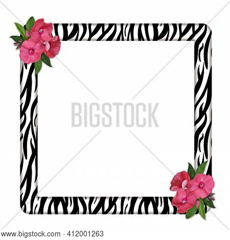 Elegant Square Frame With Zebra Print And Pink Flowers At The Corners