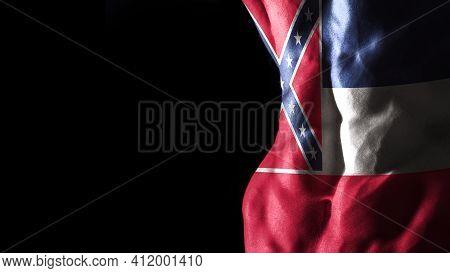 Mississippi Flag On Abs Muscles, Mississippi Bodybuilding Concept, Black Background