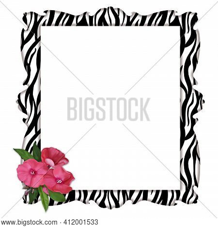 Vertical Decorative Frame With Zebra Print And Delicate Pink Flowers.