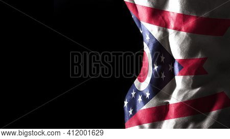 Ohio Flag On Abs Muscles, Ohio Bodybuilding Concept, Black Background