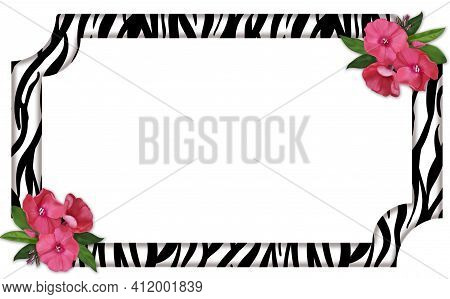 Rectangular Horizontal Frame With Zebra Skin Print, Adorned With Delicate Pink Flowers.