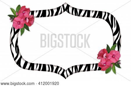 Zebra Print Decorative Frame With Delicate Pink Flowers.