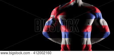 Hawaii Flag On Muscled Male Torso With Abs, Hawaii Bodybuilding Concept, Black Background