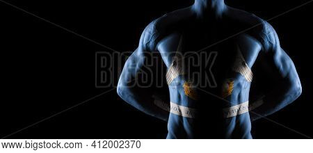 Louisiana Flag On Muscled Male Torso With Abs, Louisiana Bodybuilding Concept, Black Background