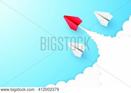 Individual Red Leader Paper Plane Lead Other With Clouds. Business And Leadership Concept