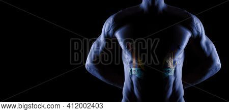 Maine Flag On Muscled Male Torso With Abs, Maine Bodybuilding Concept, Black Background