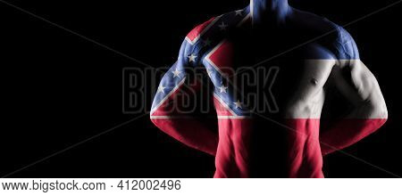 Mississippi Flag On Muscled Male Torso With Abs, Mississippi Bodybuilding Concept, Black Background