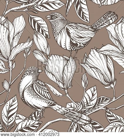 Vector Seamless Pattern Of Magnolia Flowers, Branches And Birds.