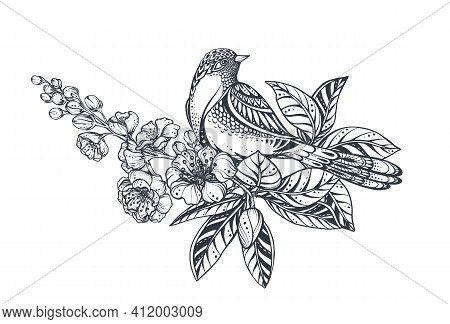 Vector Bouquet Of Doodle Hand Drawn Magnolia, Sakura Flowers And Bird. Beautiful Romantic Elegant Fl