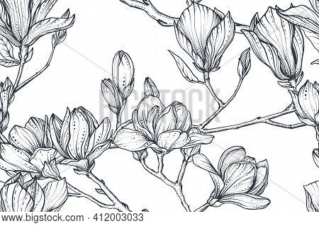 Vector Floral Seamless Pattern Of Magnolia Branches. Romantic Elegant Endless Background