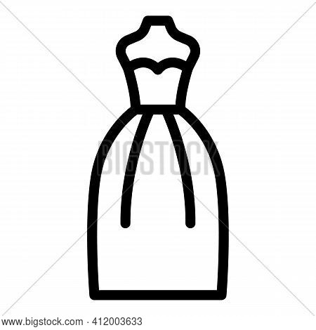 Wedding Gown Icon. Outline Wedding Gown Vector Icon For Web Design Isolated On White Background