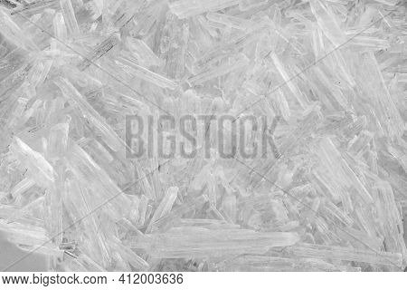 Heap Of Menthol Crystals As Background, Top View