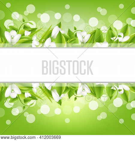 Border With Snowdrops And Bokeh, Vector Illustration