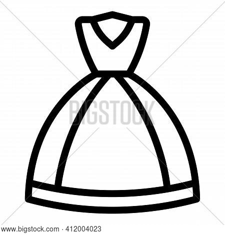 Party Wedding Gown Icon. Outline Party Wedding Gown Vector Icon For Web Design Isolated On White Bac
