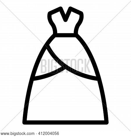 Bride Wear Dress Icon. Outline Bride Wear Dress Vector Icon For Web Design Isolated On White Backgro