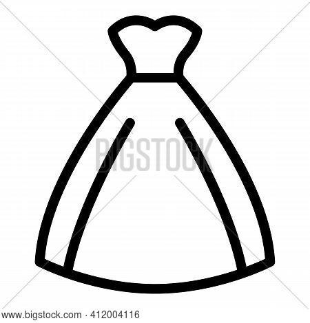 Designer Wedding Dress Icon. Outline Designer Wedding Dress Vector Icon For Web Design Isolated On W