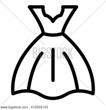 Fashion Wedding Dress Icon. Outline Fashion Wedding Dress Vector Icon For Web Design Isolated On Whi