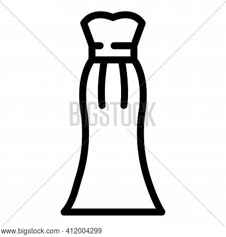 Evening Bridal Dress Icon. Outline Evening Bridal Dress Vector Icon For Web Design Isolated On White