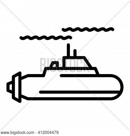 Ocean Submarine Icon. Outline Ocean Submarine Vector Icon For Web Design Isolated On White Backgroun
