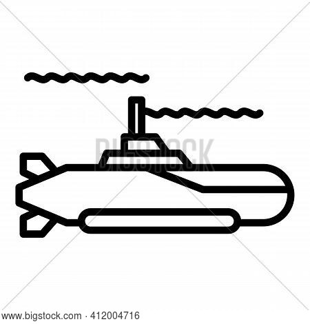 Submarine Ship Icon. Outline Submarine Ship Vector Icon For Web Design Isolated On White Background