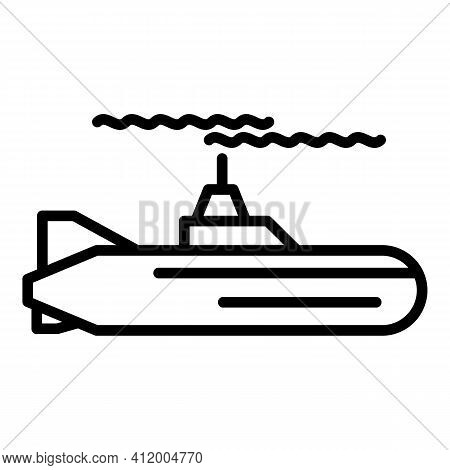 Submarine Boat Icon. Outline Submarine Boat Vector Icon For Web Design Isolated On White Background