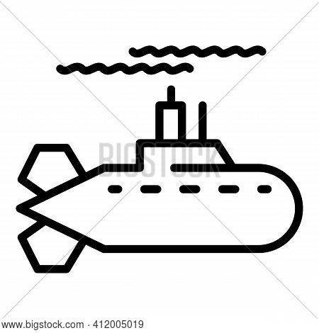 Fast Submarine Icon. Outline Fast Submarine Vector Icon For Web Design Isolated On White Background