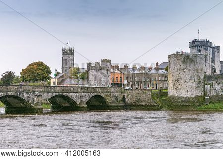 View Of King John's Castle And Bridge From Shannon River, Limerick, Ireland