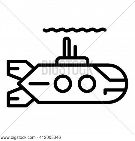 Power Submarine Icon. Outline Power Submarine Vector Icon For Web Design Isolated On White Backgroun