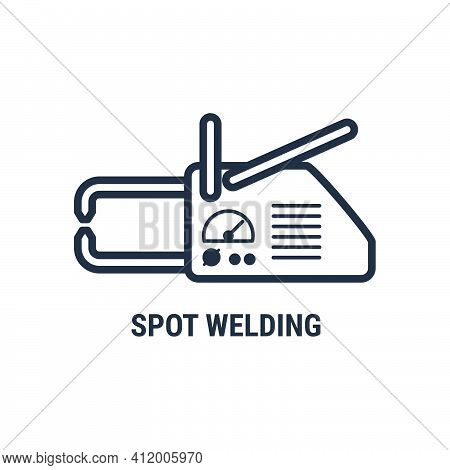 Hand Spot Welding Apparatus Icon, Point Welding Tool Silhouette, Vector