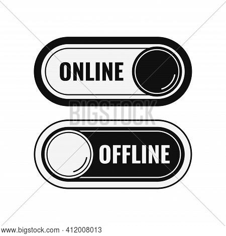 Online And Offline Black Contact Or Work Icon Set Isolated On White Background. Online Live And Offl