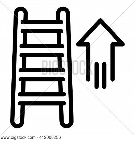 Career Up Ladder Icon. Outline Career Up Ladder Vector Icon For Web Design Isolated On White Backgro