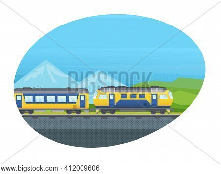 Railway Locomotive Modern Train With Wagon, Subway Metro, Railway Vehicle Vector Isolated. Railroad