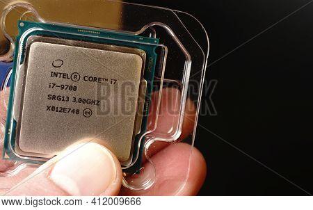 Moscow, Russia - March 3 2021: Processor For Pc Intel Core I7 8 Core In Hand. Closeup